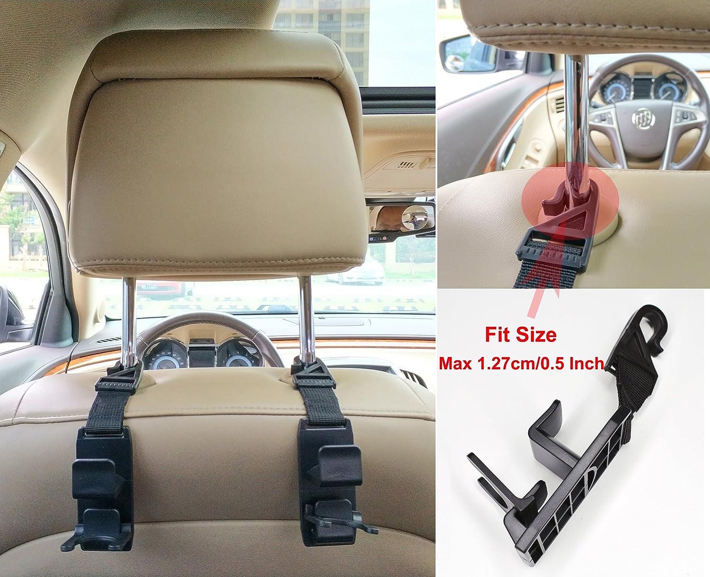 and Grocery Bags Universal Vehicle Car Seat Back Headrest Bottle Holder 4 Pack Coats Car Seat Headrest Hooks Hanger Strong Durable Backseat Headrest Hanger Storage For Handbags Purses HOOKS-3