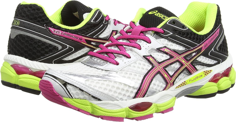asics Gel-Cumulus 16 (2A), Zapatillas de Running para Mujer, Blanco-White (White/Hot Pink/Black 120), 39 1/3 EU: Amazon.es: Zapatos y complementos