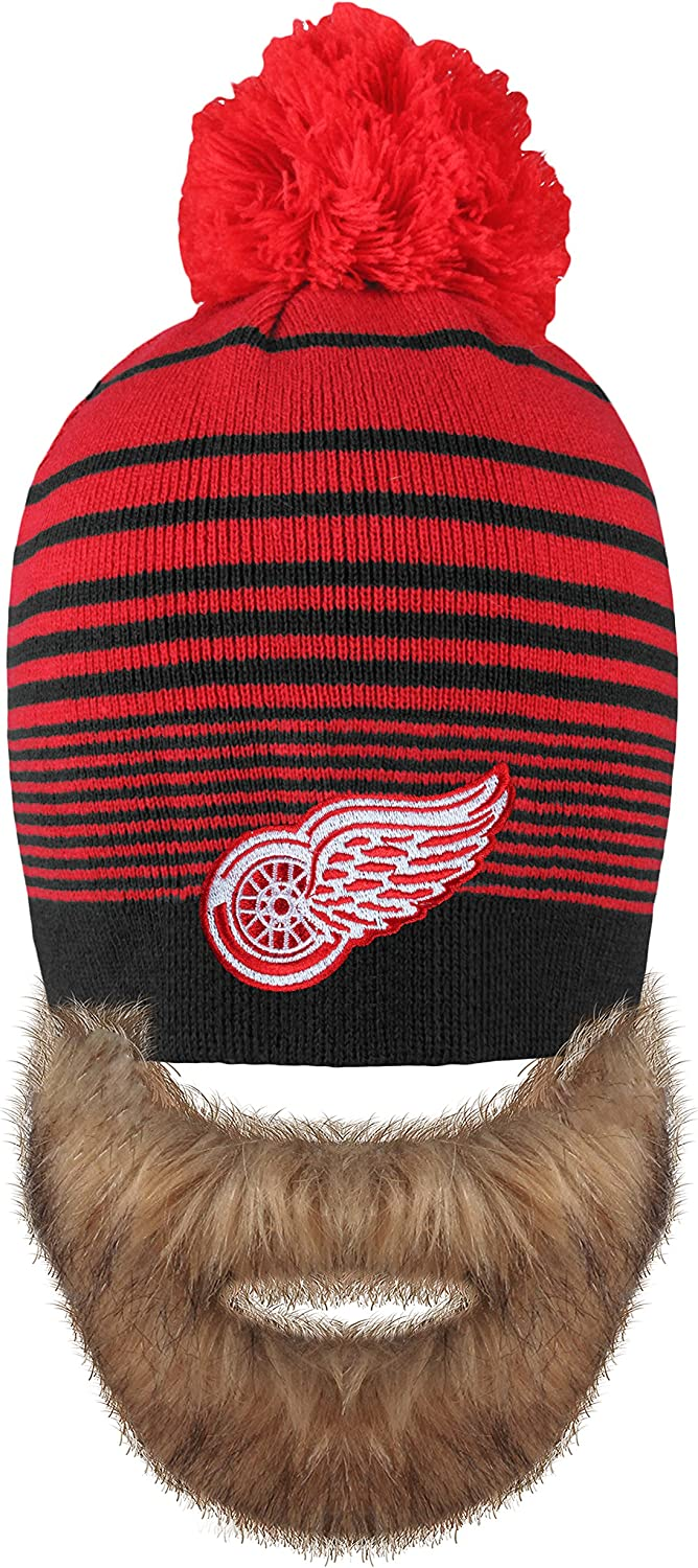 NHL Detroit Red Wings Mens Bertram Faux Beard Knit Hat with Pom One Size Red