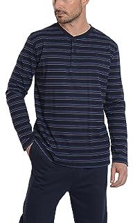 2592ef1f103413 Herren schmal Gestreifter Langer Zweiteiliger Pyjama/Schlafanzug, Moderne  Nachtwäsche für Männer - Strickwaren,