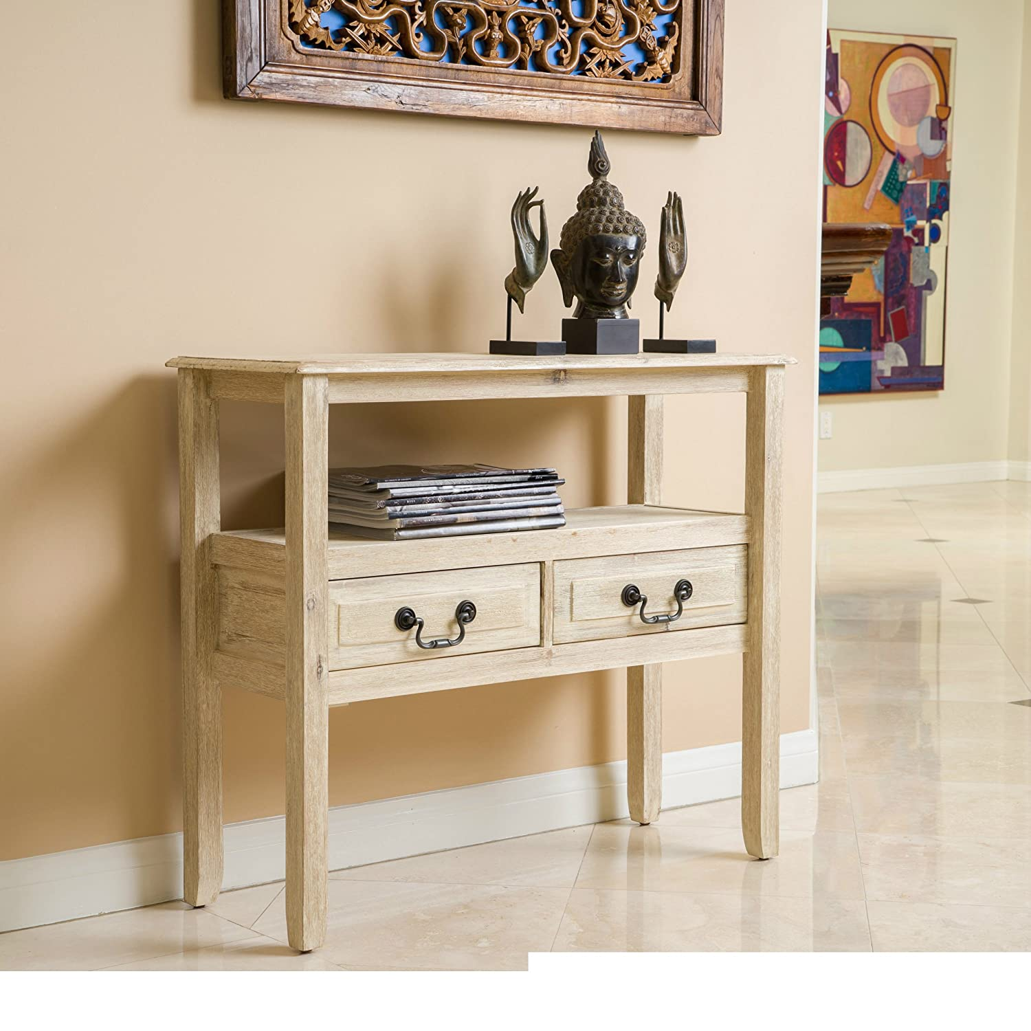 Modern Rustic Acacia Wood Accent Console Table with Shelf and 2 Drawer – Includes Modhaus Living Pen Brushed Morning Mist