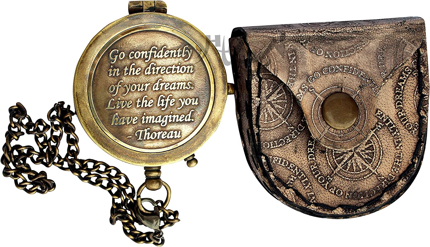 MAH Go Confidently Brass Compass Engraved with Stamped Leather Case, Direction Pocket Compass. C-3270