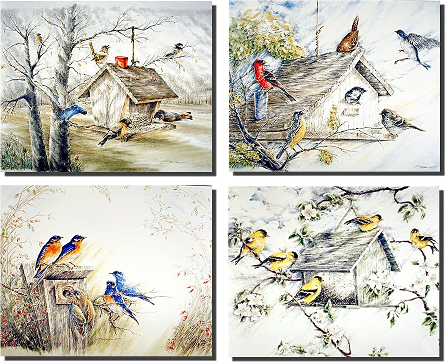Gold Finches Birds Bluebirds Birdhouse 8x10 4 Set Wall Decor Art Print Posters