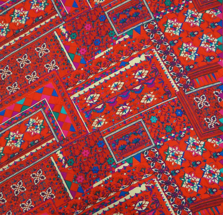 Poids Red Light décoratif pur Cotonfloral Imprimé à coudre Tissu par le chantier indianbeautifulart