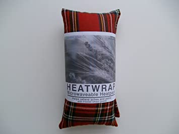 Bolsa de trigo y algodón para microondas, sin fragancia, de tartán rojo