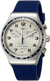 Swatch Frescoazul Silver Dial Mens Chronograph Silicone Watch YVS439