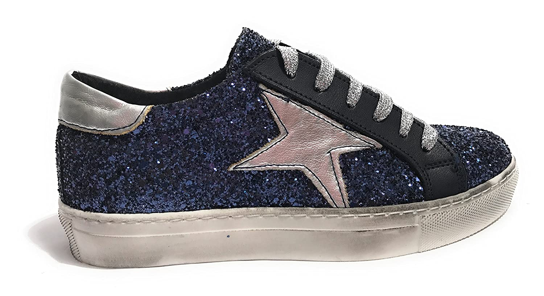 TONY WILD  Damen Glitter Turnschuhe Glitter Damen Blau Silber   schwarz 5f7e56