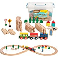 35 Piece Deluxe Figure 8 Wooden Train Set, Comes In A Clear Container, Compatible With All Major Brands