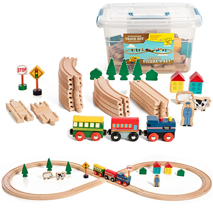 The Best Wooden Train Set 40 Pcs Home Innovations
