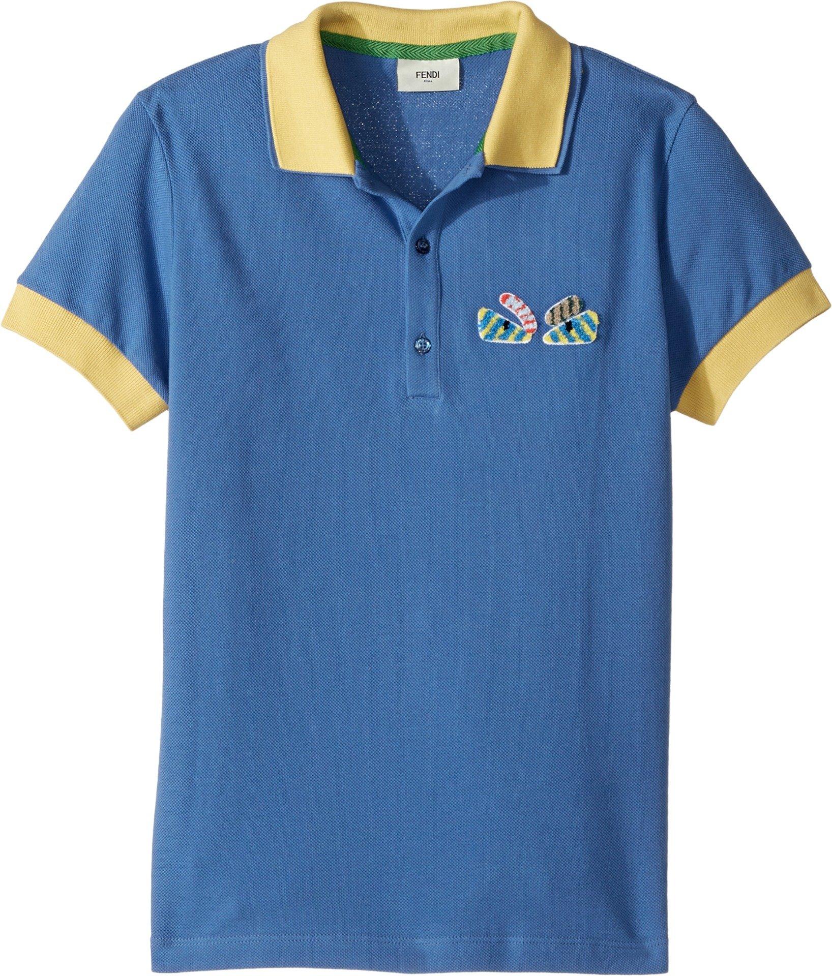 Fendi Kids  Boy's Short Sleeve Polo w/ Monster Eyes Detail on Front (Big Kids) Blue Shirt by Fendi Kids
