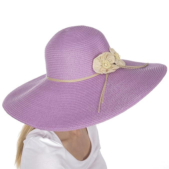 Sakkas - Cappello da Donna a Tesa Larga e floscia 100% Carta Paglia con  Protezione UPF 50+ e Note Floreali-Lavanda-OS  Amazon.it  Abbigliamento 1e70c14c844f