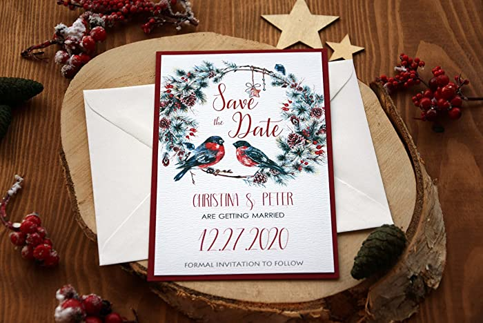 amazon com christmas wedding save the date wreath save the date