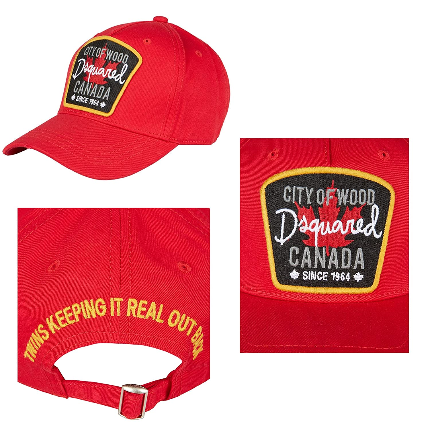 6ae38cdd2d1175 DSquared Baseball Cap Rosso Cit of Wood Canada **B-Quality** Factory Seconds,  Rejects or Mill Graded Irregulars*: Amazon.co.uk: Sports & Outdoors