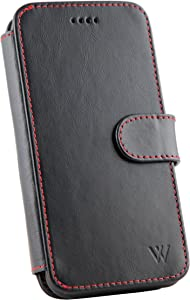 Wilken iPhone X | XS Leather Wallet Detachable Phone Case | 100% Top Grain Cowhide Leather iPhone X | XS Wallet Case | Magnetic Locking System | Kickstand Feature | Black and Red