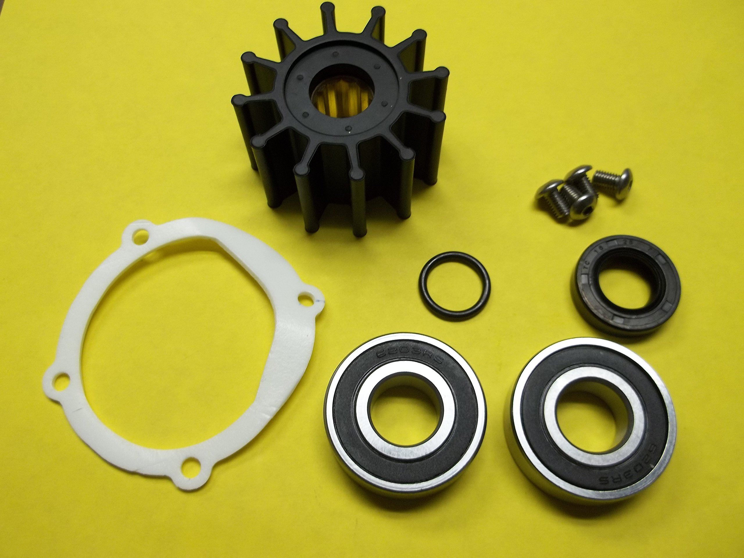 Johnson Sea Water Pump Repair Service rebuild Kit with bearings and Impeller 09-1027B-1 F5B-9 10-24228-1