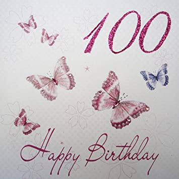 WHITE COTTON CARDS WBB100 Pink Butterflies Happy Birthday 100quot Handmade 100th Card