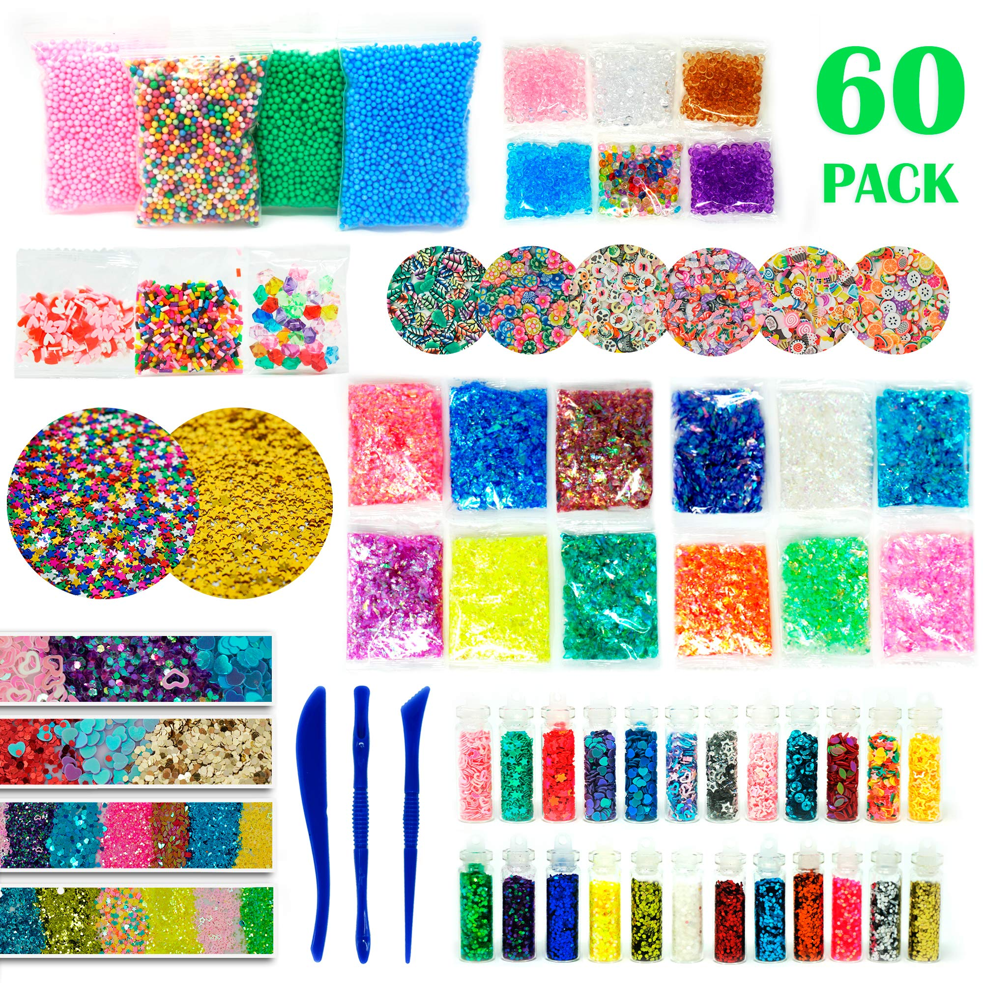 RockTown Toys Slime Supplies Kit Stuff - 60 PCS Foam Beads & Balls, Glitter, Fruit Slices, | Add Ins for Slime & Floam | Supply Kit for Slime Parties | Fun & Educational for Boys & Girls by RockTown Toys