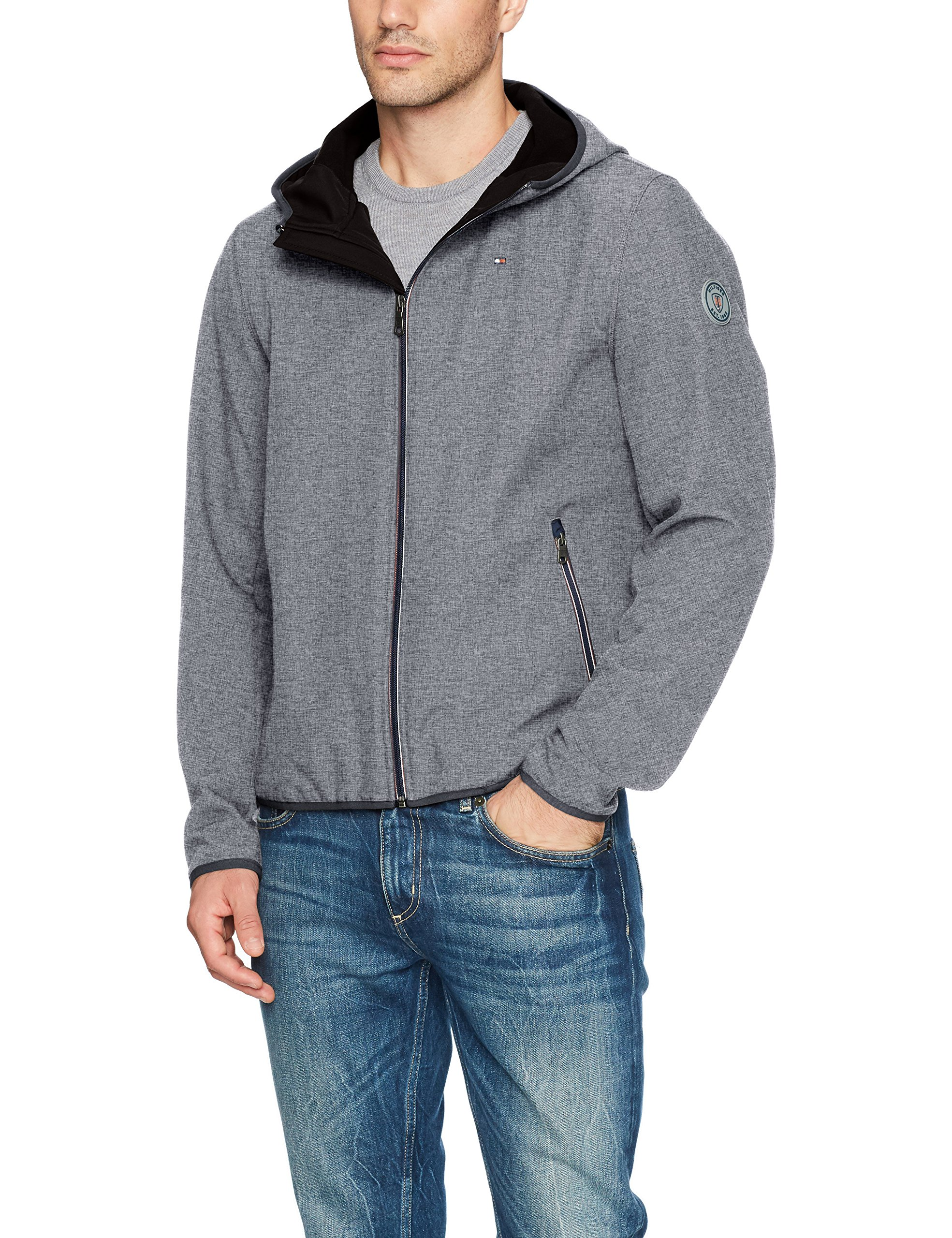 Tommy Hilfiger Men's Hooded Performance Soft Shell Jacket, Heather Grey, Large