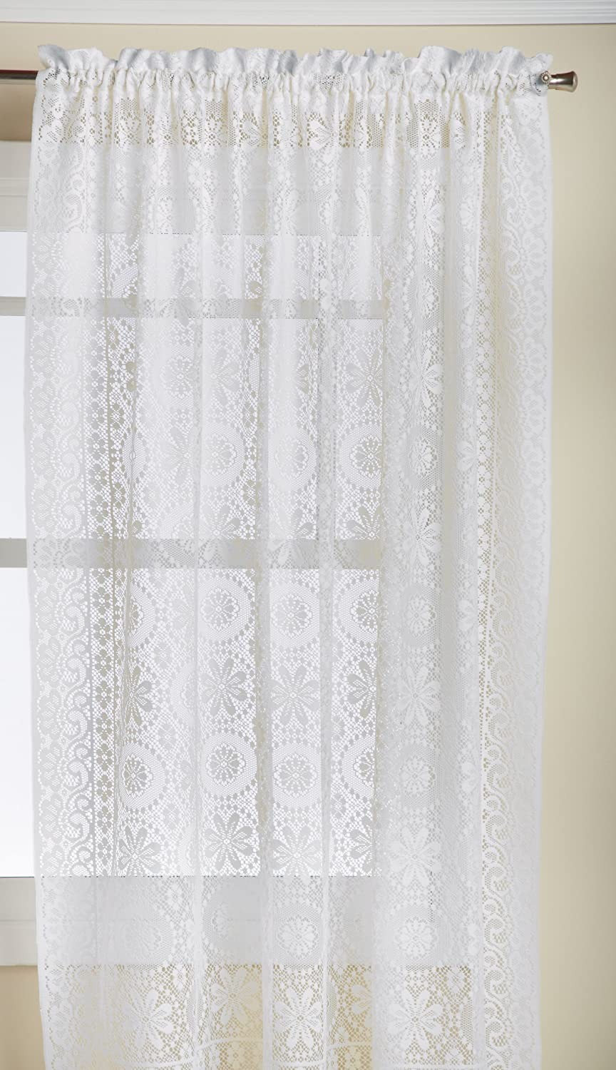 Amazon Com Lorraine Home Fashions Hopewell Lace Window Curtain