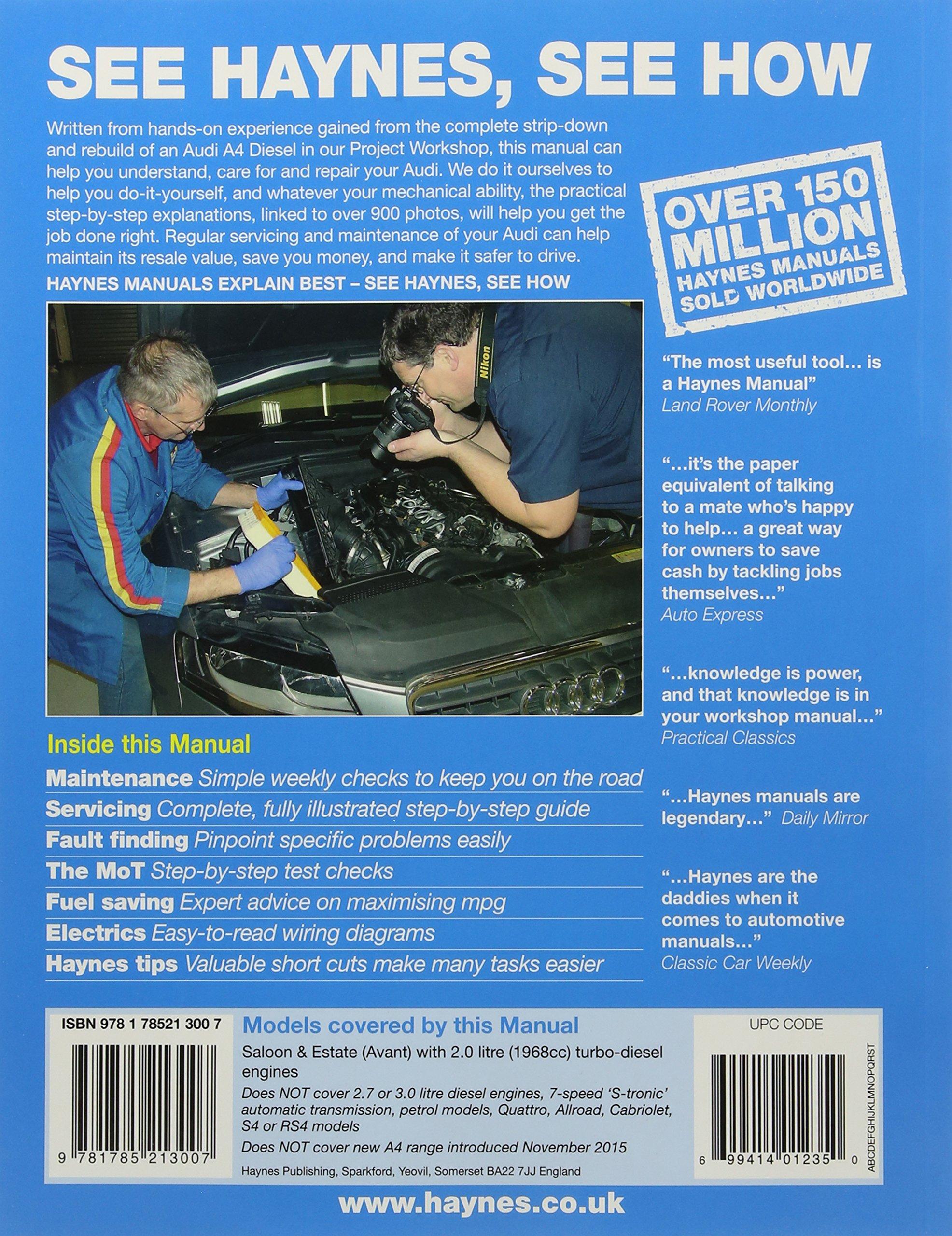 Audi A4 Diesel Mar 08 Oct 15 Haynes Repair Manual To 65 Reading Wiring Diagram Anon 9781785213007 Books