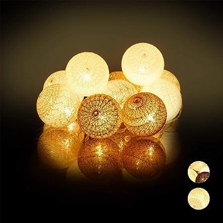 Relaxdays Guirnalda Luces con 10 Bolas LED a Pilas, Algodón-Poliestireno, Blanco-Gris-marrón, 6 cm de diámetro: Amazon.es: Hogar