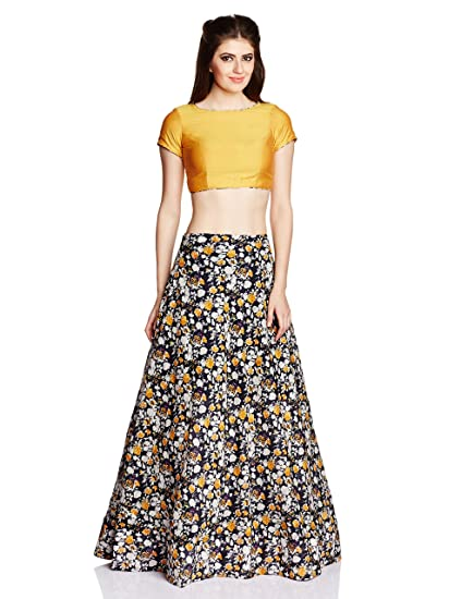 54df8b1f7206c IndusDiva Plain Crop Top with Floral Printed Lehenga (BLR1070052 Golden  yellow and Black 38)