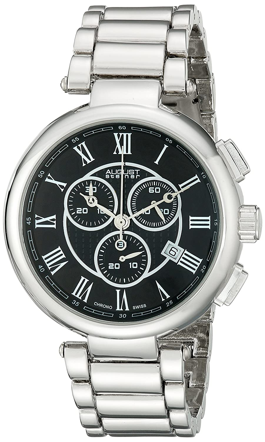 Amazon.com: August Steiner Mens AS8148SSB Silver Swiss Chronograph Quartz Watch with Black Dial and Silver Bracelet: Watches