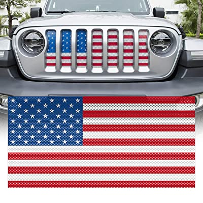 Yoursme Front Grille Grid Grill Screen Insert American Flag Design for Jeep wrangler JL 2020 2020: Automotive