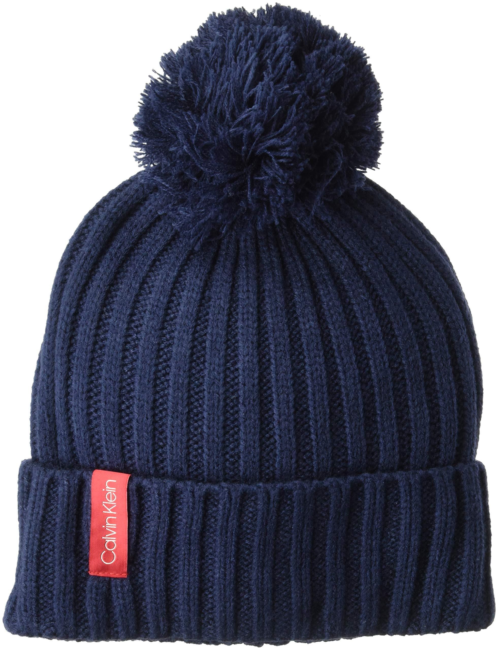 Calvin Klein Women's Basic Rib Pom Hat, navy, O/S
