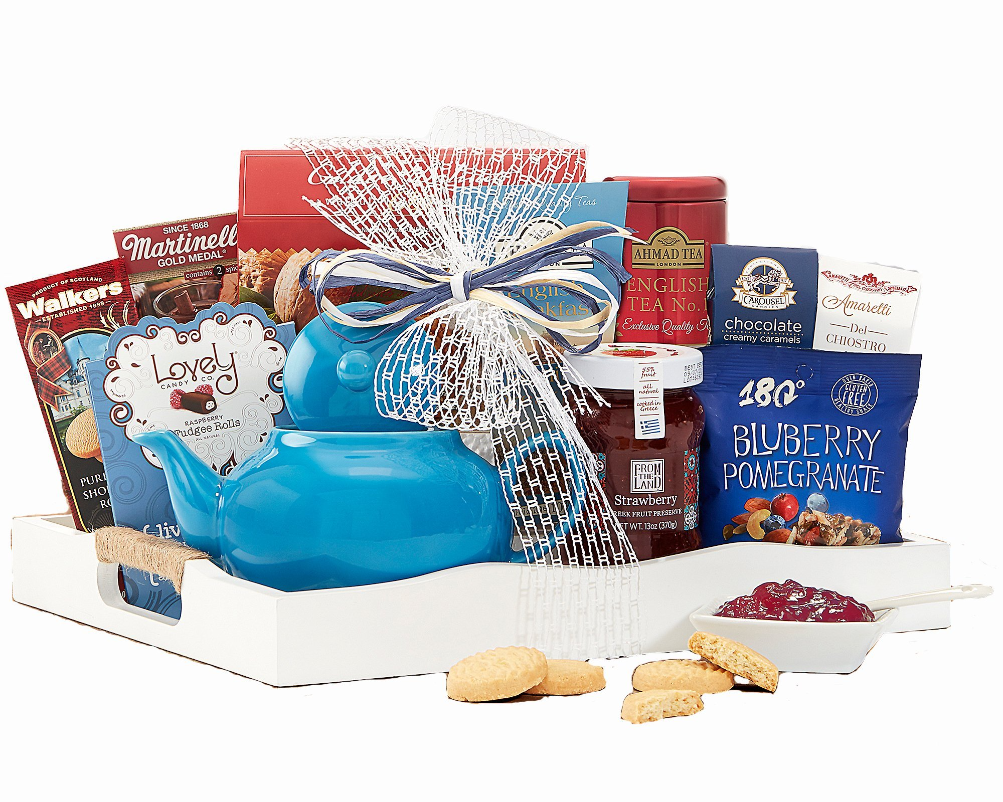 Wine Country Gift Baskets Tea Time Ceramic Teapot English Tea Beautiful Reusable Breakfast Tray w/ Handles Cookies Fruit Preserves Ghirardelli and more Sweets Perfect Gifts for Her by Wine Country Gift Baskets