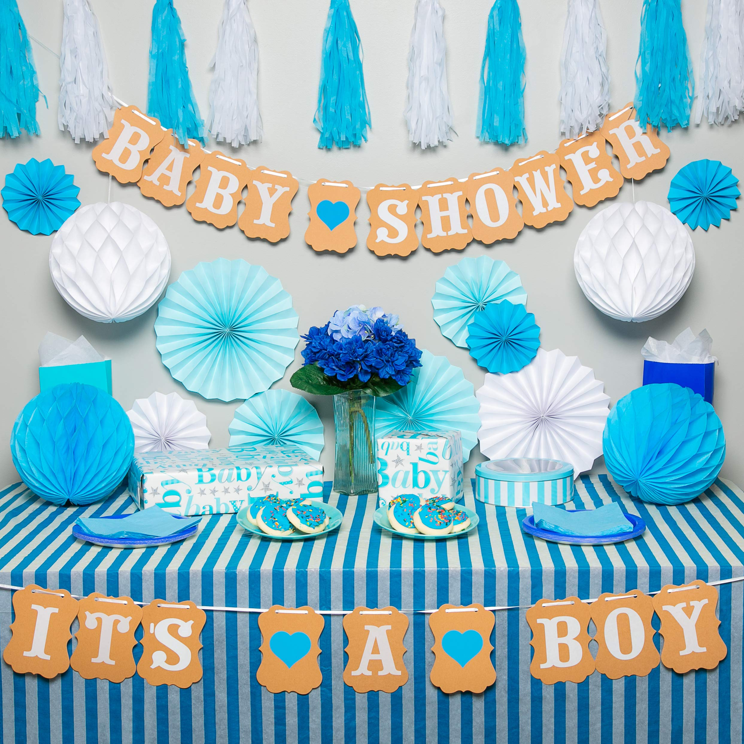 Premium baby shower decorations for boy Kit | It's a boy baby shower decorations with striped tablecloth, 2 banners, paper fans, and honeycomb balls | complete baby shower set for a beautiful baby boy by TeeMoo (Image #7)