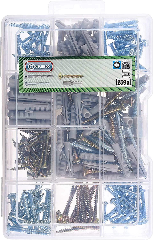 Connex DP8500108 Juego de tornillos universales para madera 259 piezas, PZ Pozidriv, galvanizados, con tacos, caja surtida