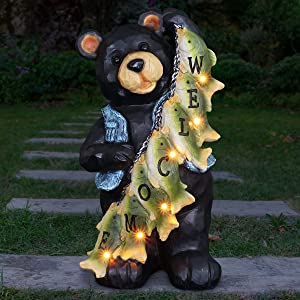 Exhart Bear Welcome Sign Garden Statue – Fishing Bear - Resin Statue w/Solar Powered LED Welcome Lights - an Animal Statue for Garden Décor (13 inches)