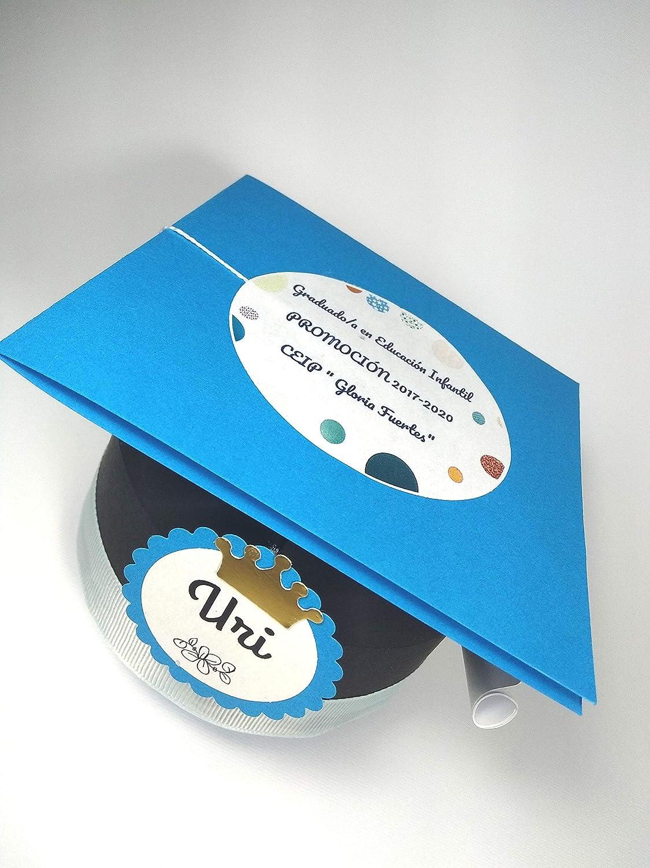 Graduación - Caja BIRRETE con chuches Personalizado: Amazon.es: Handmade