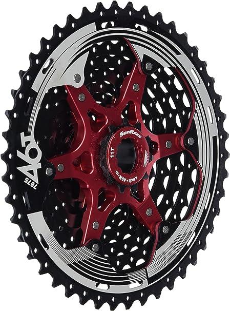 Fahrrad Kassette SunRace CSMX8 Zahnkranz 11-fach 11-46 Schwarz//Rot