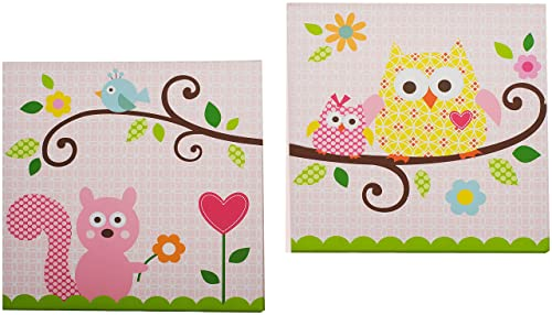Kids Line Dena Happi Tree 2 Piece Canvas Wall Art, Pink Discontinued by Manufacturer