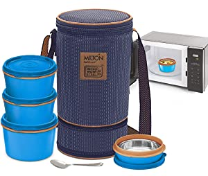 MILTON Bento Lunch Box Set -4 MICROWAVEABLE Stainless Steel Meal Prep Containers, Expandable Thermal Insulated Lunch Bag, SS Spoon Double Wall Food Storage Boxes w/Leak Proof Lids For Men,Women,Kids