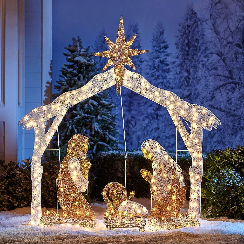BrylaneHome Christmas Crystal Splendor Outdoor Nativity Scene - White