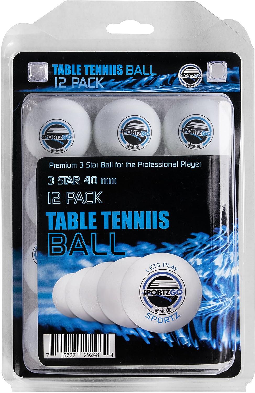 Sportly Table Tennis Ping Pong Balls, 3-Star 40Mm Advanced Training Regulation Balls 12 Pack White