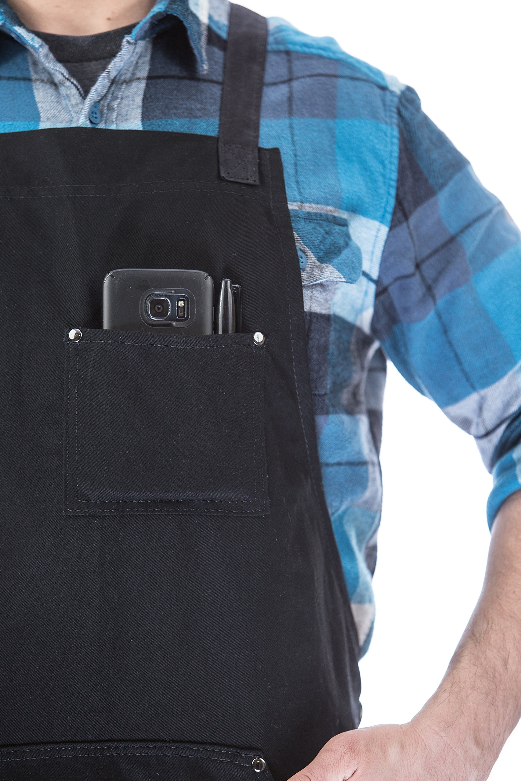 Hudson Durable Goods - Professional Grade Chef Apron for Kitchen, BBQ, and Grill (Black) with Towel Loop + Tool Pockets + Quick Release Buckle, Adjustable M to XXL by Hudson Durable Goods (Image #5)