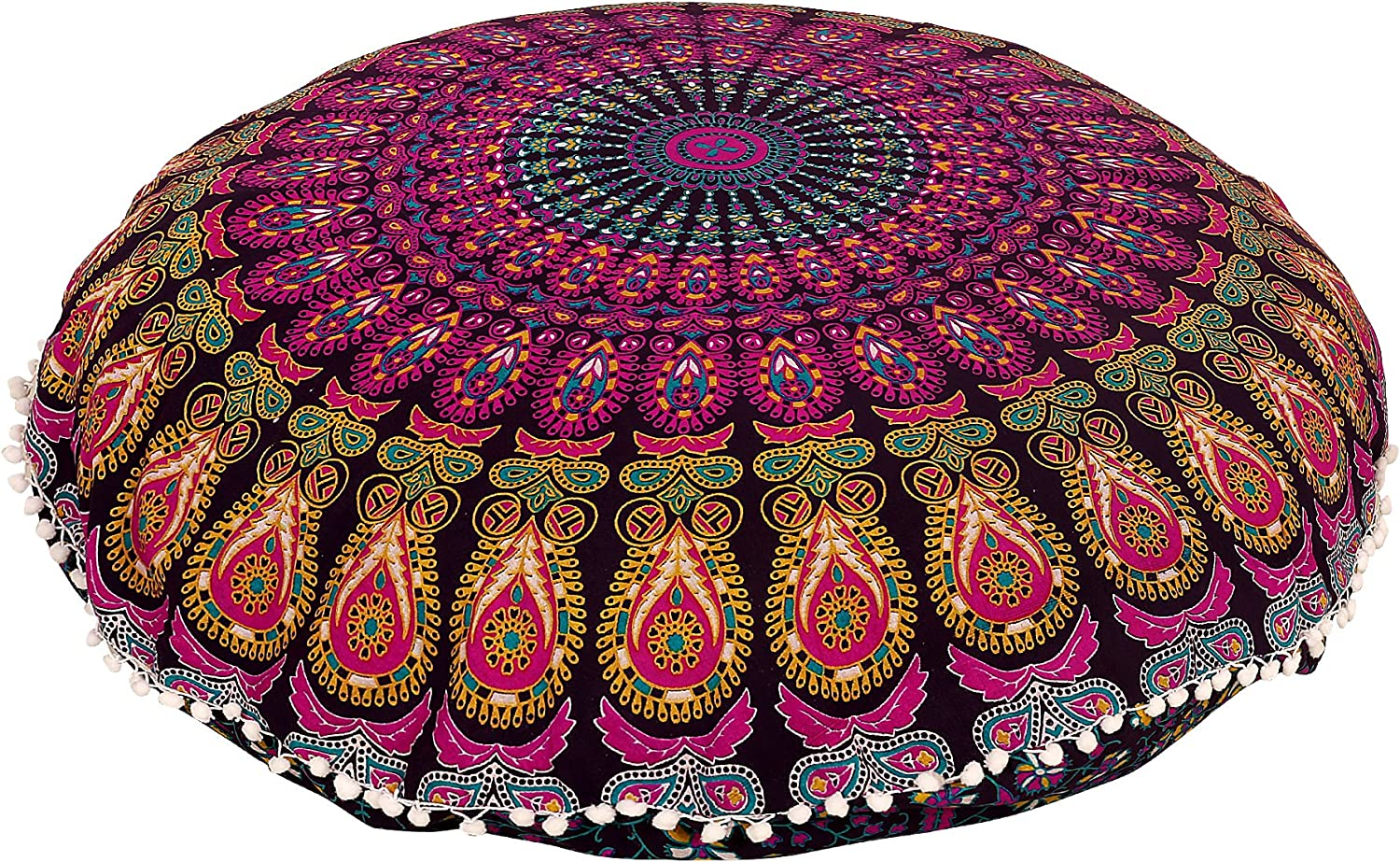 "Shubhlaxmifashion 32"" Purple Mandala Floor Pillow Cushion Seating Throw Cover Hippie Decorative Bohemian Ottoman Poufs, Pom Pom Pillow Cases,Boho Indian"