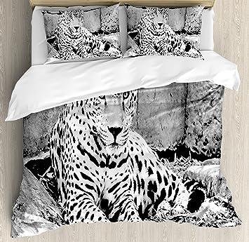 Blanco y Negro Juego de funda nórdica por Ambesonne, Jaguar Wild Big diseño de gatos de ...