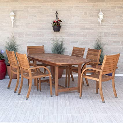 Amazon Com Amazonia Arizona 7 Piece Oval Outdoor Extendable Dining Set Super Quality Eucalyptus Wood Durable And Ideal For Patio And Backayard Garden Outdoor