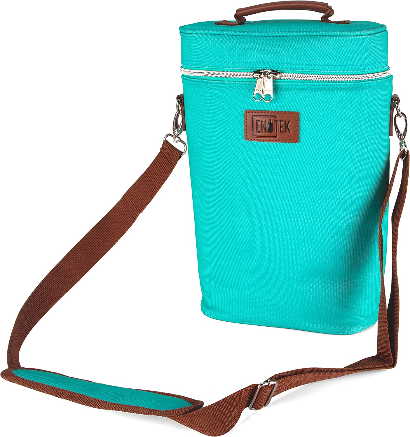 Enotek Wine Bag | Wine Carrier 2 Bottle | Insulated Wine Tote Bag | Wine Travel Bag | Wine Cooler Bag | Wine Totes and Carriers | Wine Bags for Travel | Leak Proof Wine Purse | Two Bottles - Turquoise