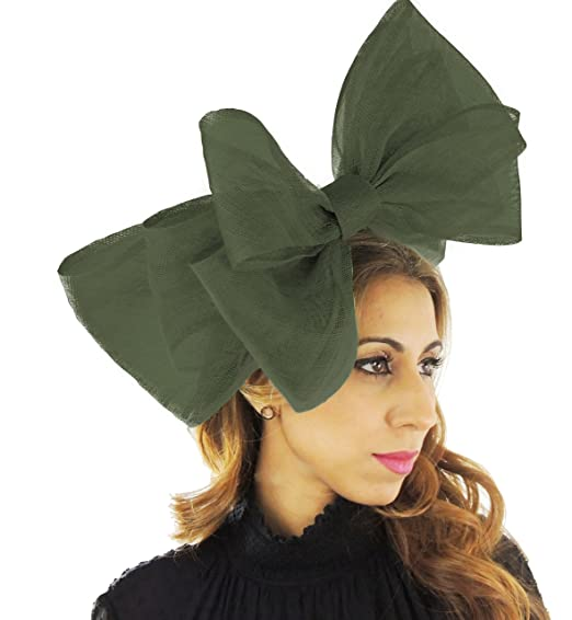 Army Green Large 20 Inch Cliverina Sinamay Bow Ascot Fascinator Hat - With  Headband 8dcfc7c7d3da