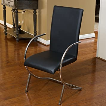 Set of 2 Black Christopher Knight Home 238384 Lydia Leather//Chrome Chairs