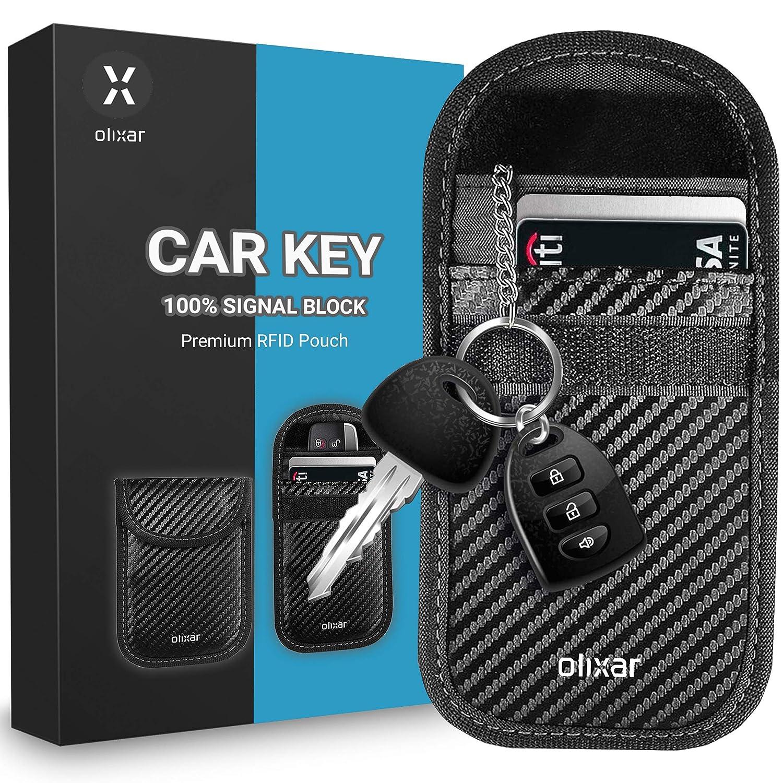 Olixar RFID Key Pouch, Car Key Signal Blocker for Car Keys Keyless Entry - Faraday Pouch - RFID & NFC Signal Blocking Wallet - Carbon Fibre