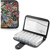 Tabtime Tapestry Pill/Tablet Wallet, Weekly 7 Day Travel Pill Organiser Case with 28 Compartments
