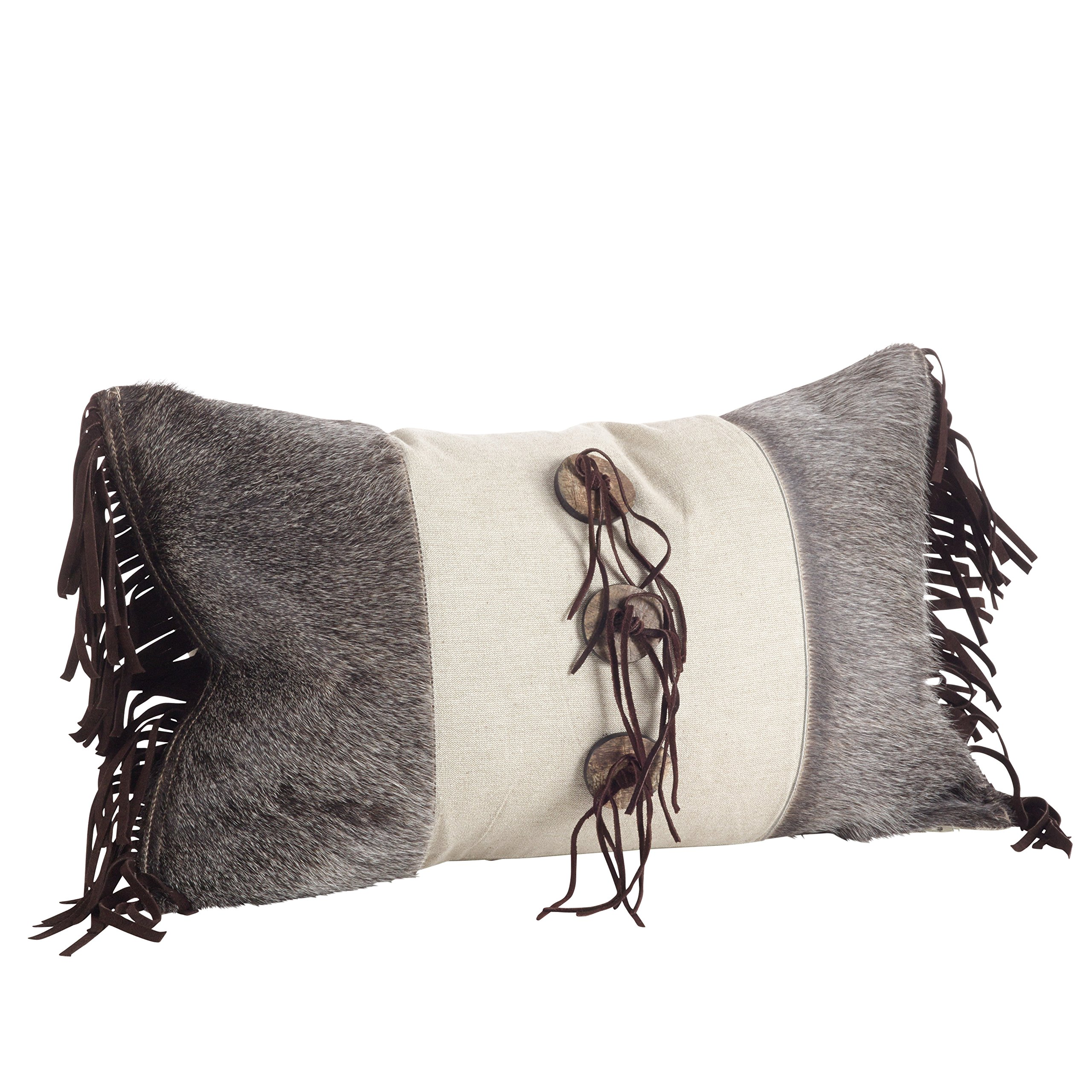 SARO LIFESTYLE 1375.N1220B Cowhide Leather Suede Fringe Down Filled Throw Pillow, Natural, 12'' x 20'' by SARO LIFESTYLE