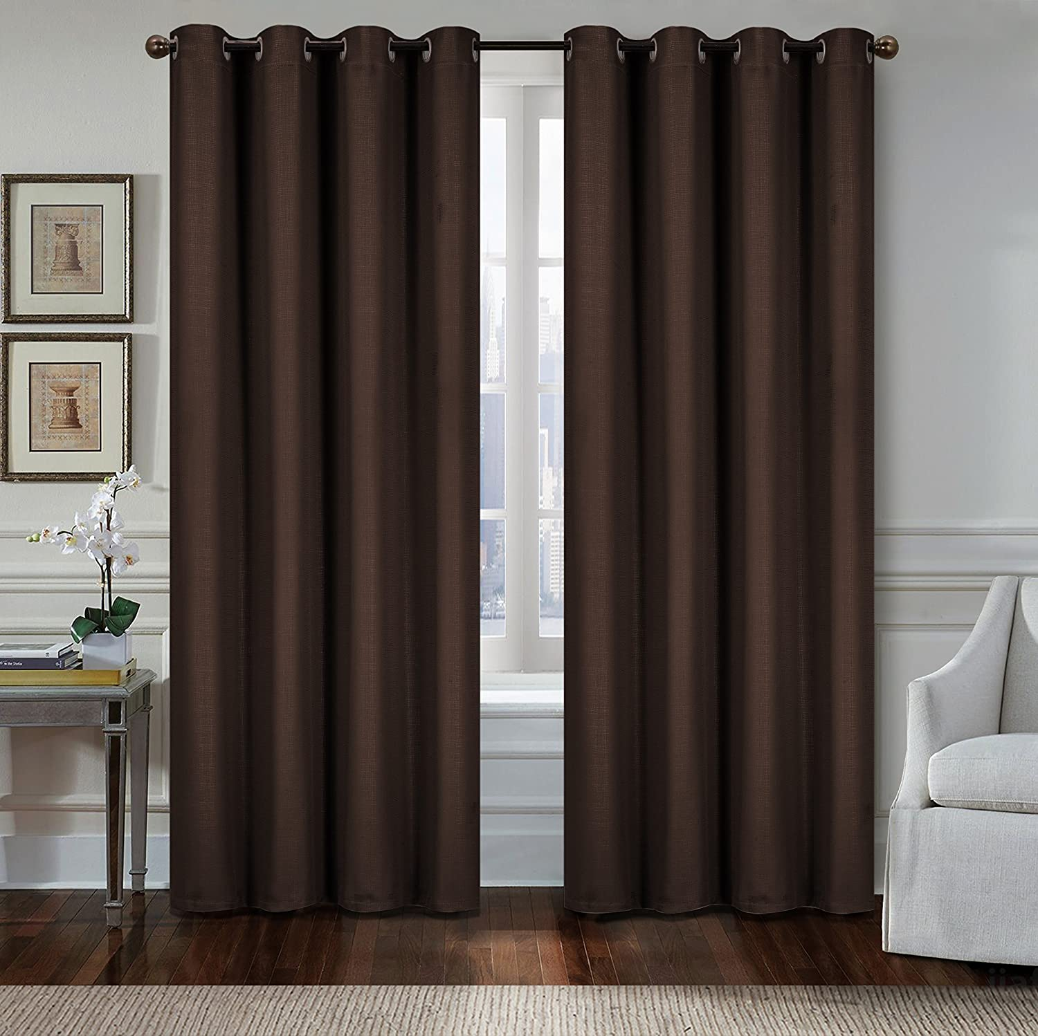 All American Collection New 2 Panel Curtain Set Solid Embossed Blackout with 8 Grommets Chocolate